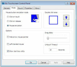 Panneau de configuration des propriétés de l'écran tactile Elo