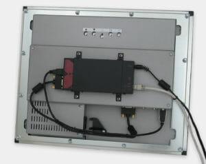 Rallonge KVM montée à l'arrière d'un écran à montage encastrable en façade avec support de montage VESA d'écran