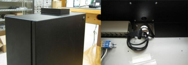 Vues de l'extérieur et de l'intérieur de notre solution de coffret avec radôme Wi-Fi
