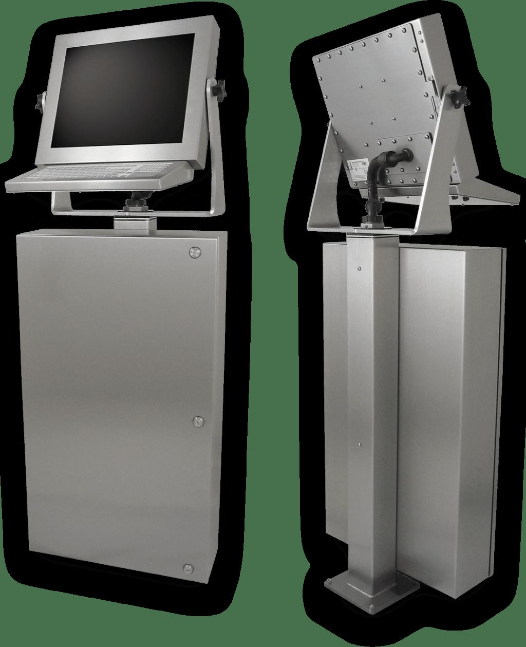 Postes de travail à usage industriel avec écrans tactiles IP65/IP66 pour l'atelier