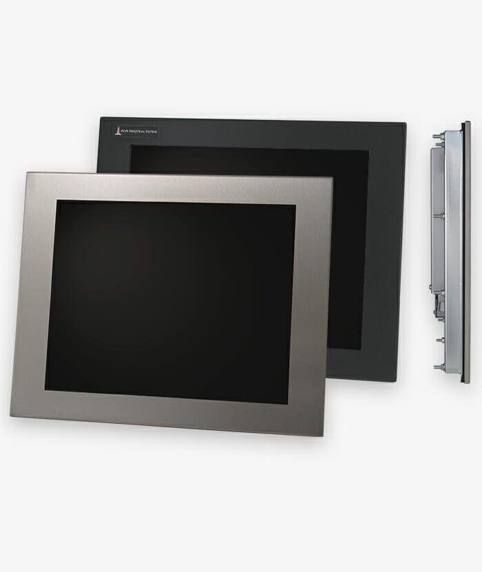 """Écrans 17"""" à montage encastrable en façade à usage industriel et écrans tactiles robustes IP65/IP66"""