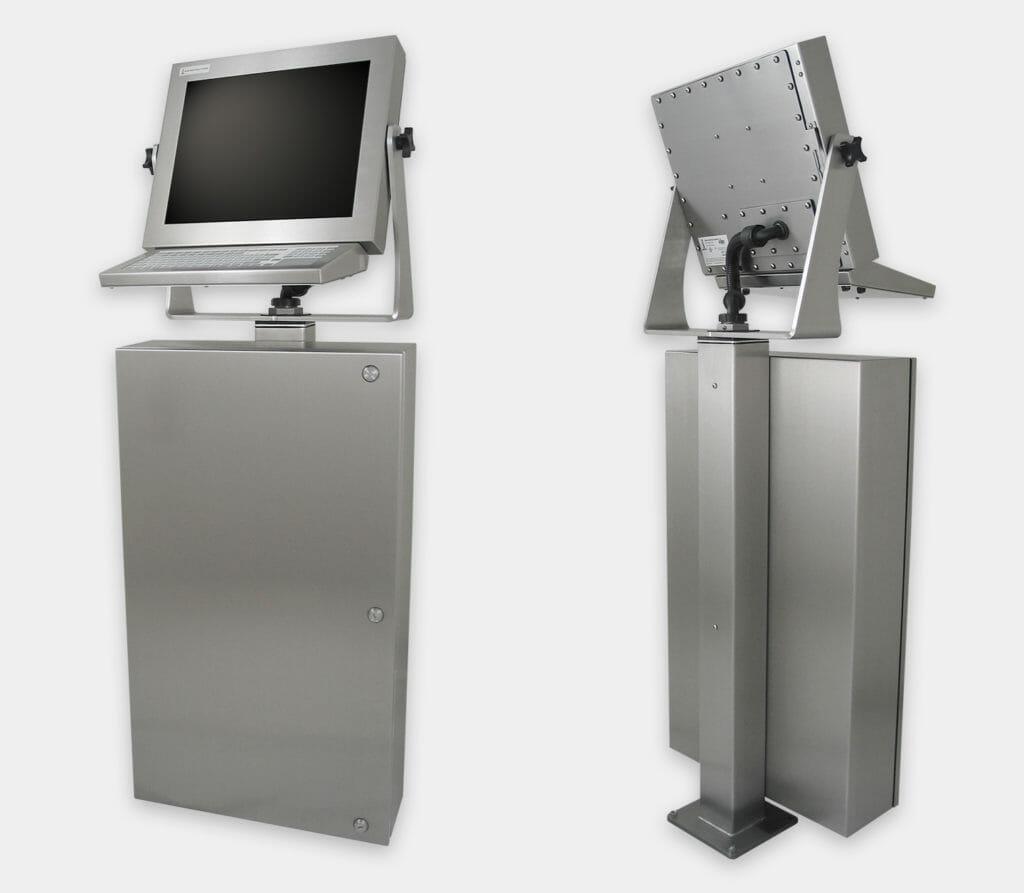 Enceinte industrielle pour PC commercial/industriel, vue de face et arrière