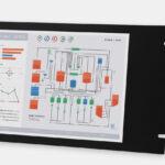 """Écrans 15"""" rackables à usage industriel et écrans tactiles robustes IP20, vues avant et de côté"""