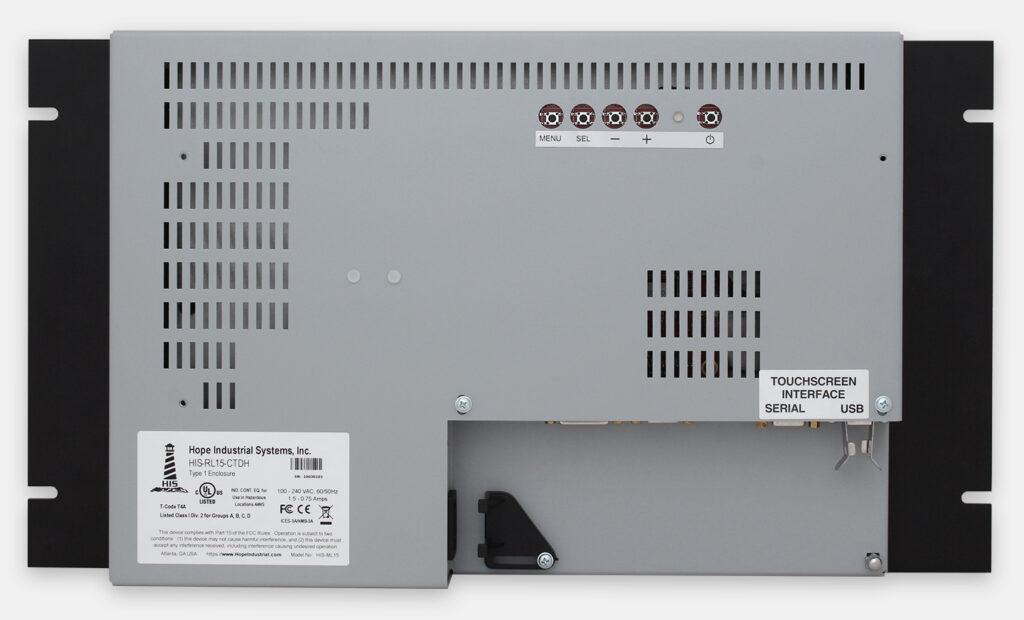"""Écrans rackables 15"""" à usage industriel et écrans tactiles robustes IP20, vue arrière"""
