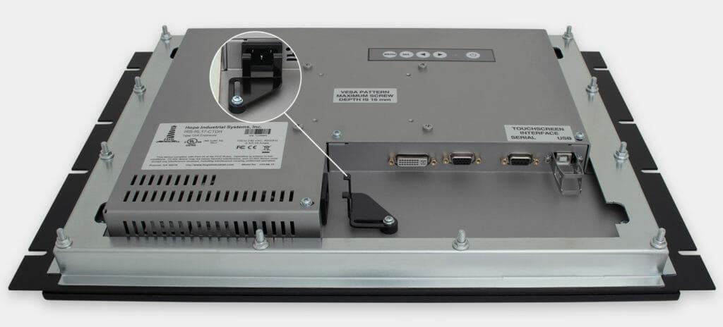 """Écrans 17"""" industriels à montage en rack et écrans tactiles robustes IP20, vue sortie de câbles CA"""