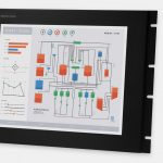 """Écrans 17"""" rackables à usage industriel et écrans tactiles robustes IP20, vues avant et de côté"""