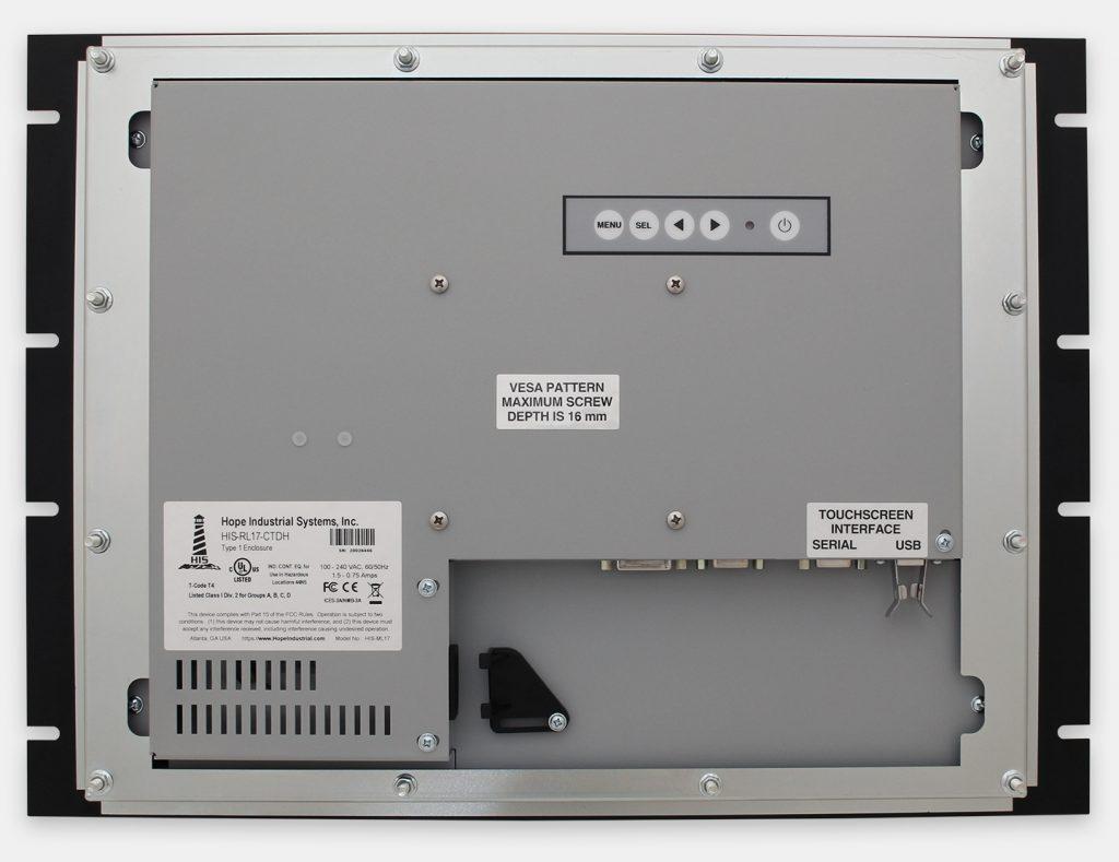 """Écrans rackables 17"""" à usage industriel et écrans tactiles robustes IP20, vue arrière"""