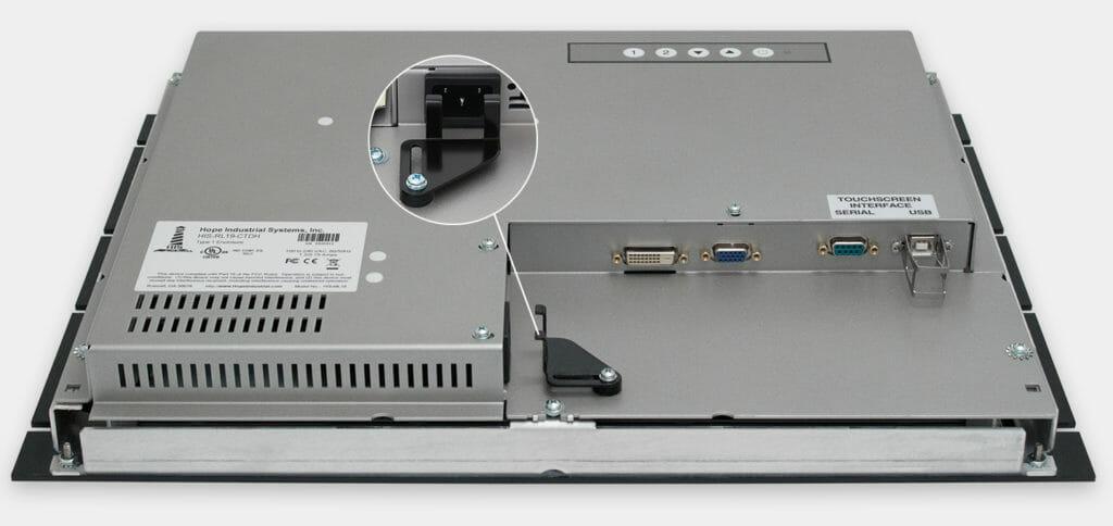 """Écrans 19"""" industriels à montage en rack et écrans tactiles robustes IP20, vue sortie de câbles CA"""