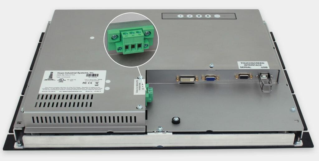"""Écrans 19"""" industriels à montage en rack et écrans tactiles robustes IP20, vue sortie de câble CC"""