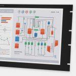"""Écrans 19"""" rackables à usage industriel et écrans tactiles robustes IP20, vues avant et de côté"""