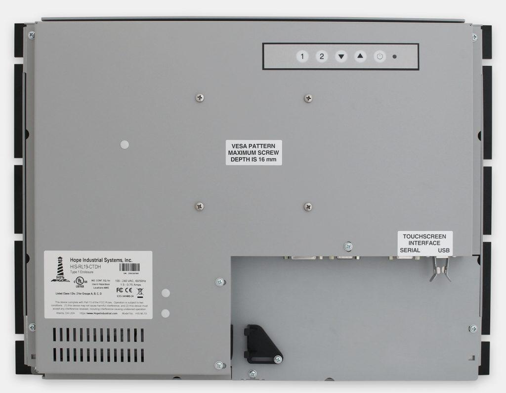 """Écrans rackables 19"""" à usage industriel et écrans tactiles robustes IP20, vue arrière"""