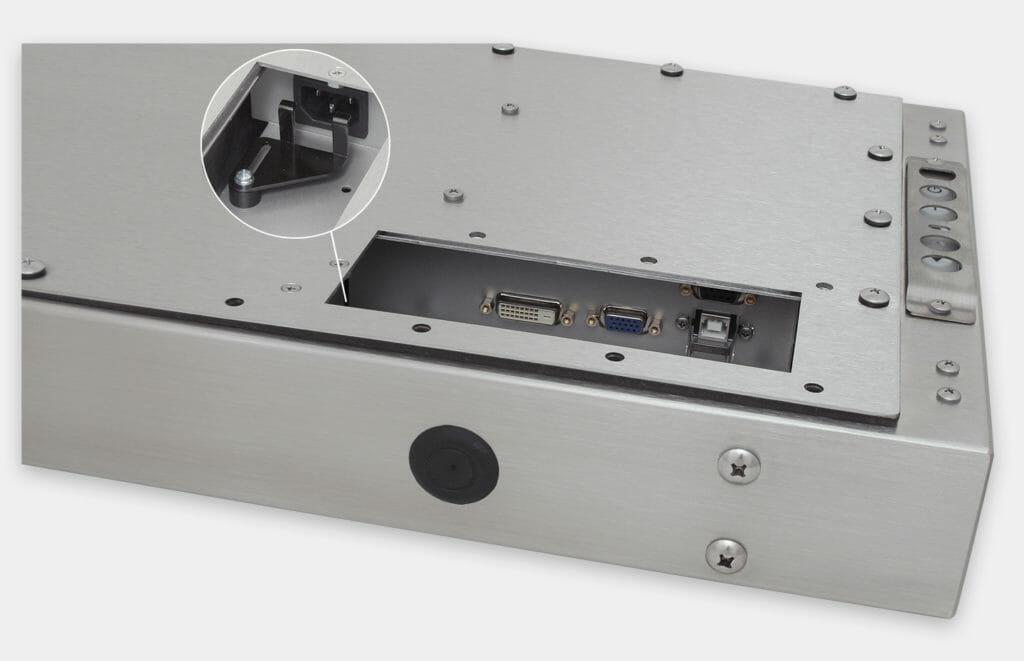 """Écrans industriels de 19.5"""" de grande largeur à montage encastrable universel et claviers tactiles robustes IP65/IP66, vue sortie de câbles CA"""