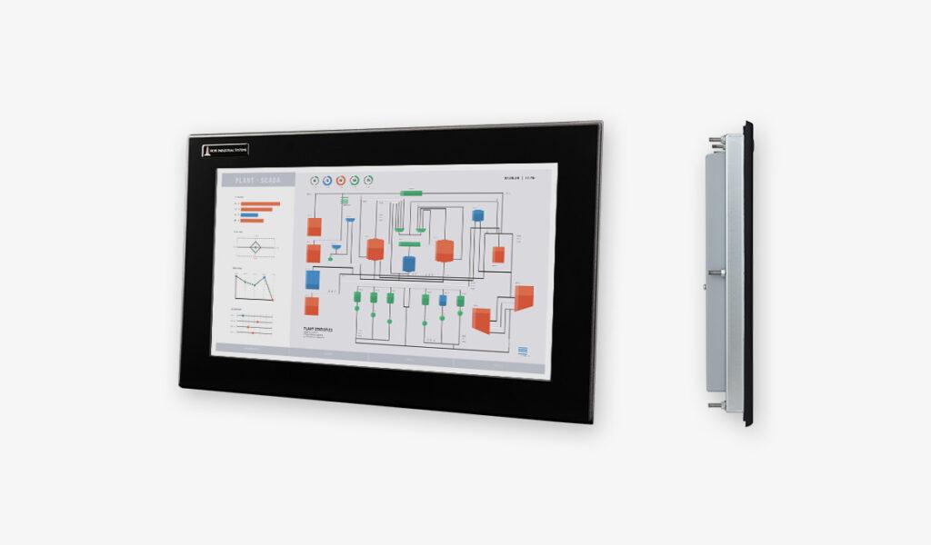 Écrans 19.5 de grande largeur à montage encastrable en façade pour usage industriel et écrans tactiles robustes