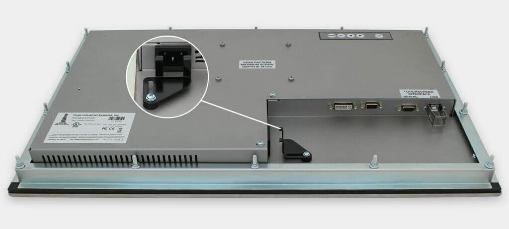 """Écran 23"""" de grande largeur à montage encastrable en façade à usage industriel et écrans tactiles robustes homologués IP65/IP66, vue sortie du câble CA"""