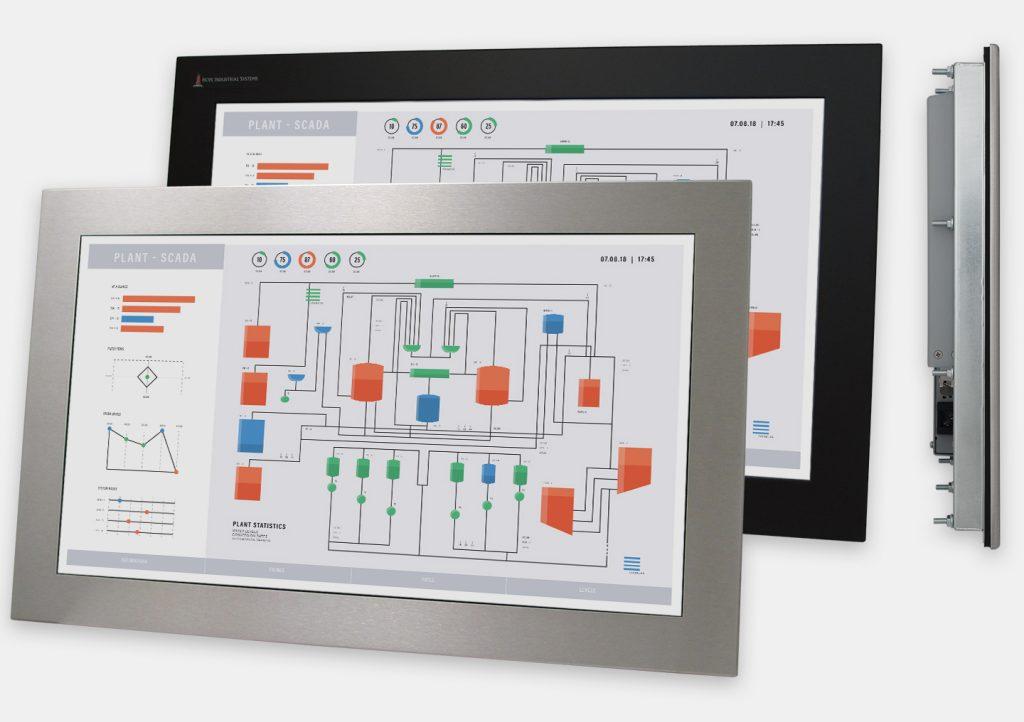"""Écran 23"""" de grande largeur à montage encastrable en façade à usage industriel et écrans tactiles robustes homologués IP65/IP66, vues avant et latérale"""