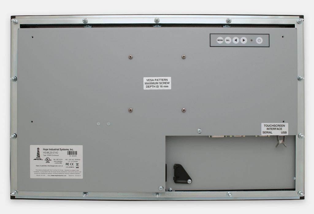 """Écrans 23"""" de grande largeur à montage encastrable en façade à usage industriel et écrans tactiles robustes homologués IP65/IP66, vue arrière"""