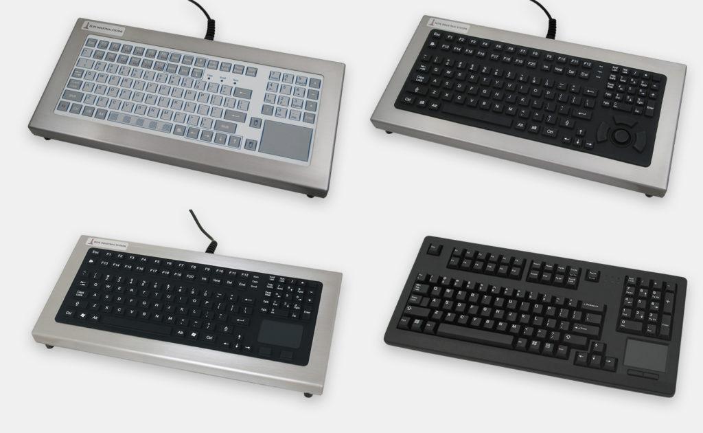 Options pour clavier industriel pour plan de travail avec pavé numérique course courte ou longue et dispositif de pointage intégré