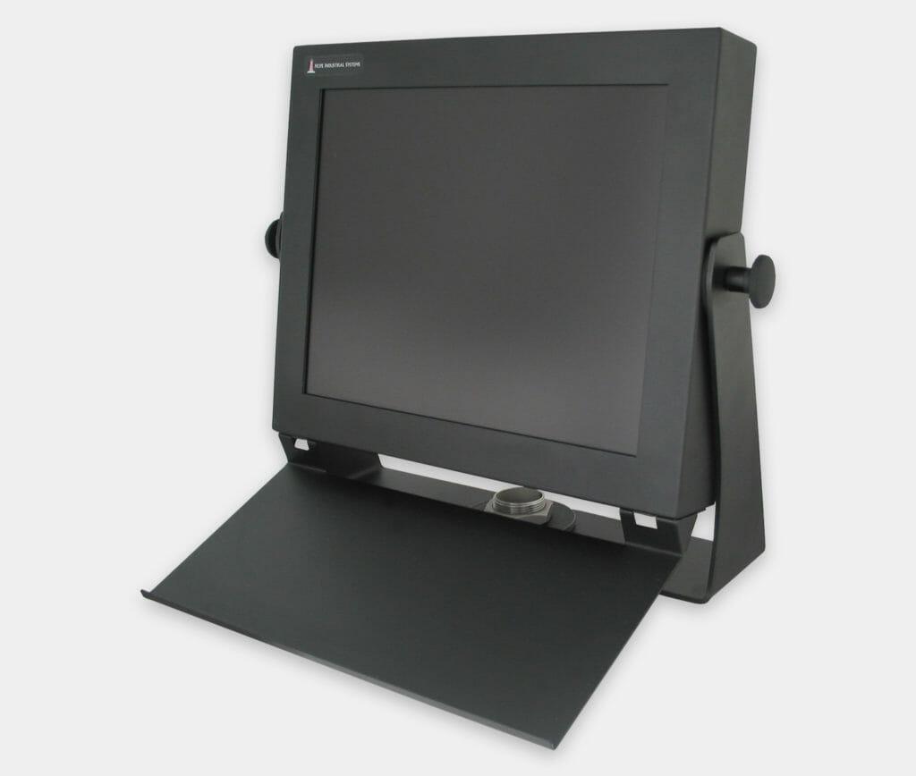 Tablette pour clavier industriel à fixer sur des écrans à montage encastrable universel