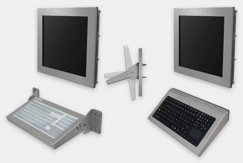 Options claviers industriels à montage mural, modèles à montage fixe et repliable