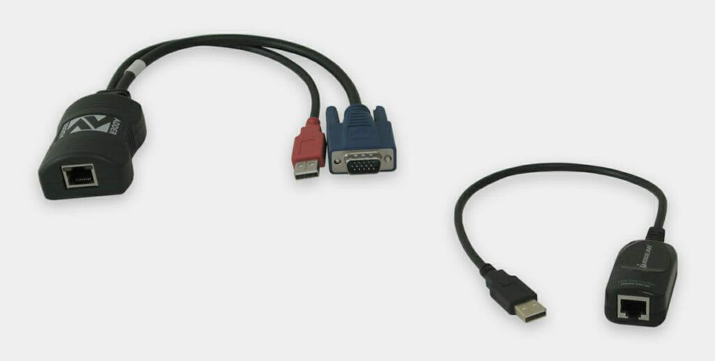 Rallonge KVM industrielle 60m pour unités VGA et USB locales