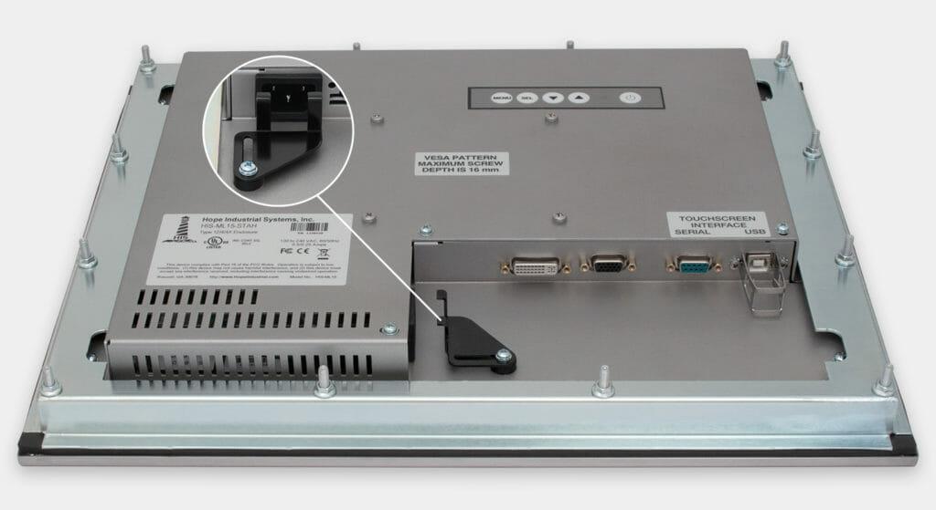 """Écrans 15"""" à montage encastrable en façade pour usage industriel et écrans tactiles robustes homologués IP65/IP66, vue sortie de câble CA"""