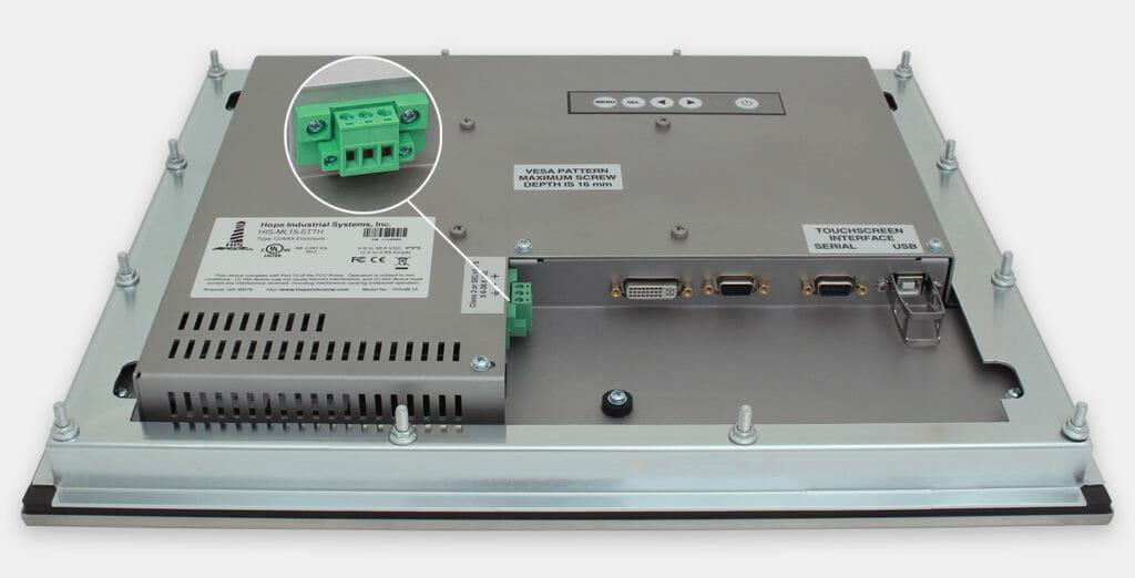 """Écrans 15"""" à montage encastrable en façade pour usage industriel et écrans tactiles robustes homologués IP65/IP66, vue sortie de câble CC"""