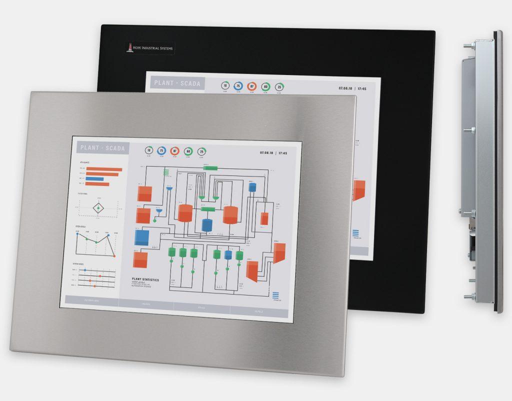 """Écrans 15"""" à montage encastrable en façade pour usage industriel et écrans tactiles robustes homologués IP65/IP66, vues avant et latérale"""