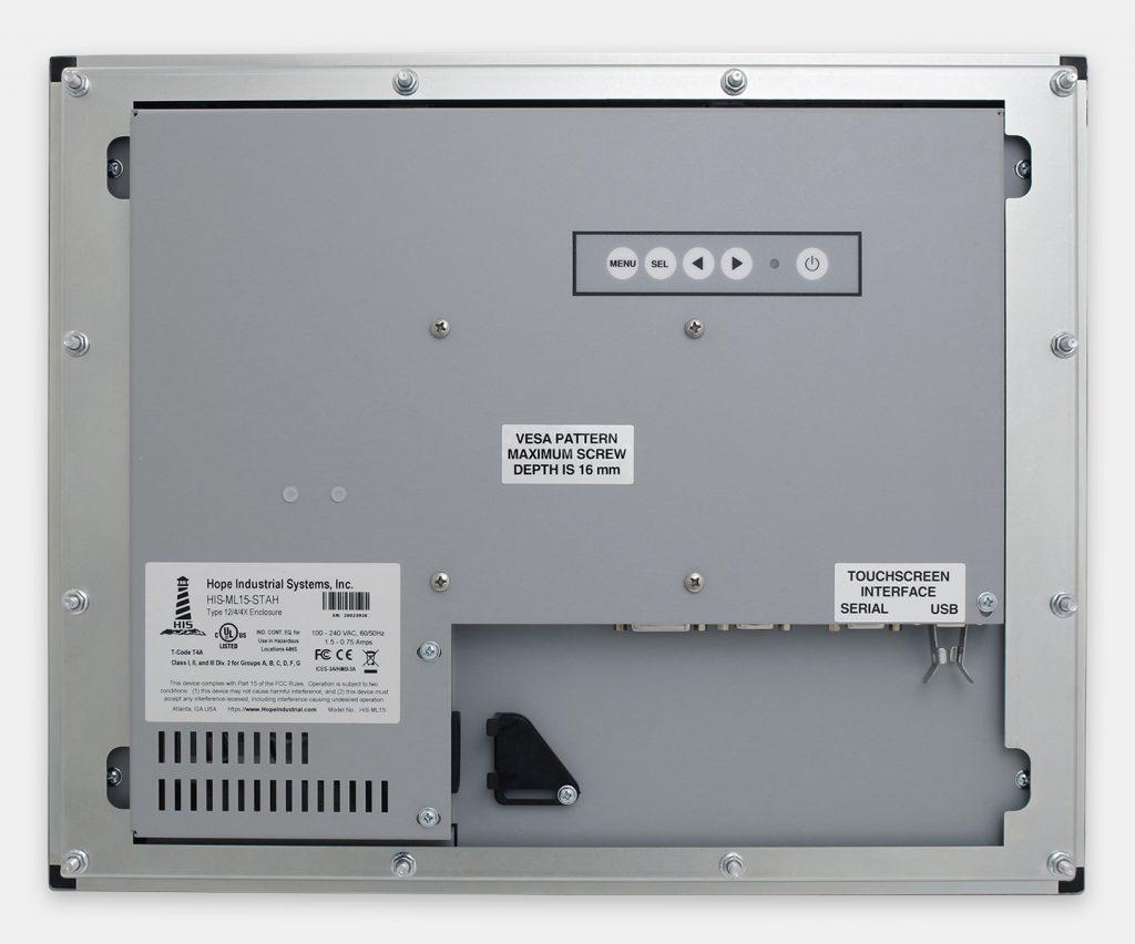 """Écrans 15"""" à montage encastrable en façade pour usage industriel et écrans tactiles robustes homologués IP65/IP66, vue arrière"""