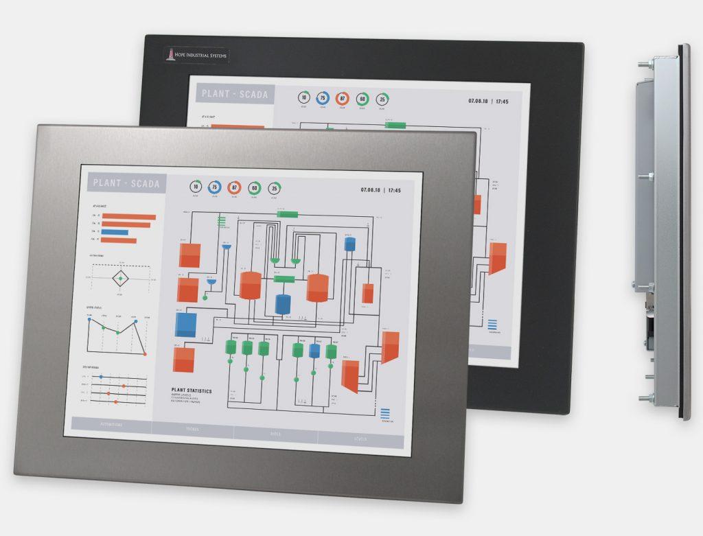"""Écrans 17"""" à montage encastrable en façade à usage industriel et écrans tactiles robustes IP65/IP66 vues avant et de côté"""