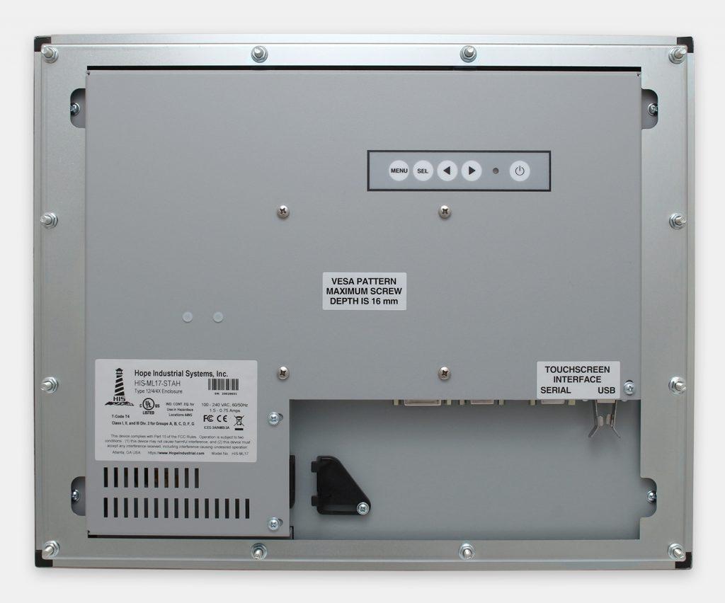 """Écrans 17"""" à montage encastrable en façade à usage industriel et écrans tactiles robustes IP65/IP66, vue arrière"""