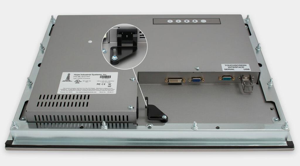 """Écrans 19"""" à montage encastrable en façade à usage industriel et écrans tactiles robustes homologués IP65/IP66, vue de sortie de câble CA"""