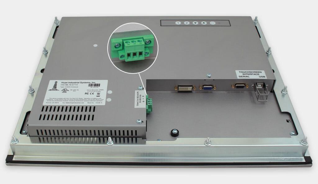 """Écrans 19"""" à montage encastrable en façade à usage industriel et écrans tactiles robustes homologués IP65/IP66, vue sortie câble CC"""