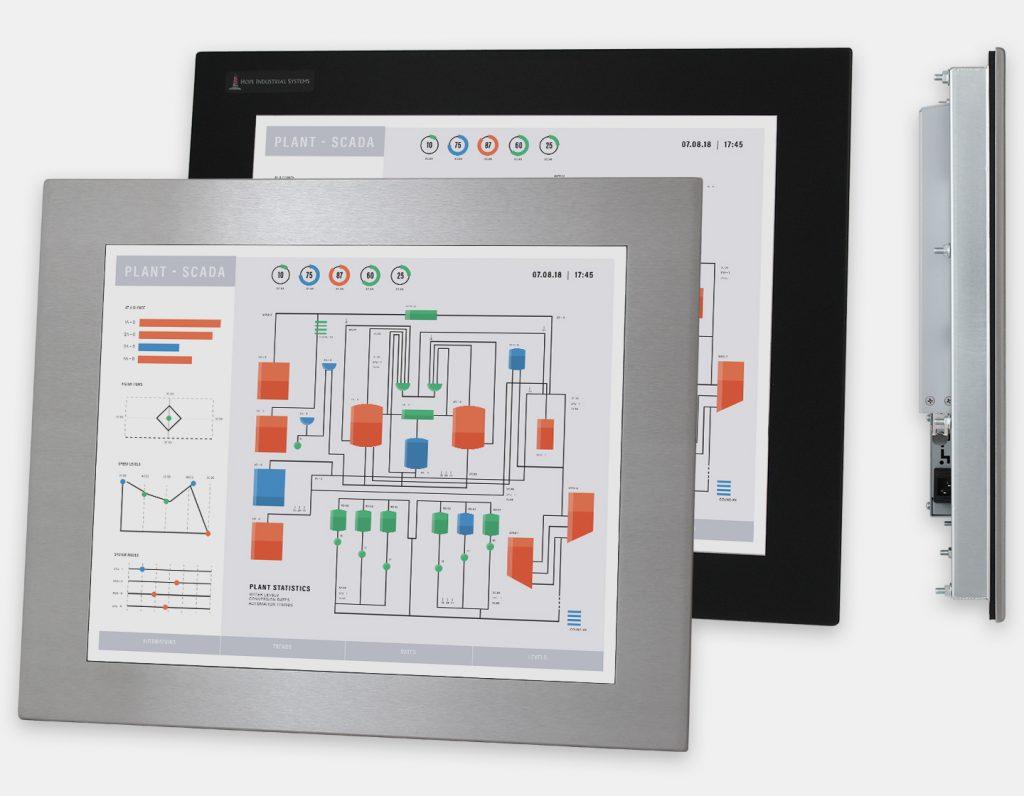 """Écrans 19"""" à montage encastrable en façade à usage industriel et écrans tactiles robustes homologués IP65/IP66, vues avant et latérale"""