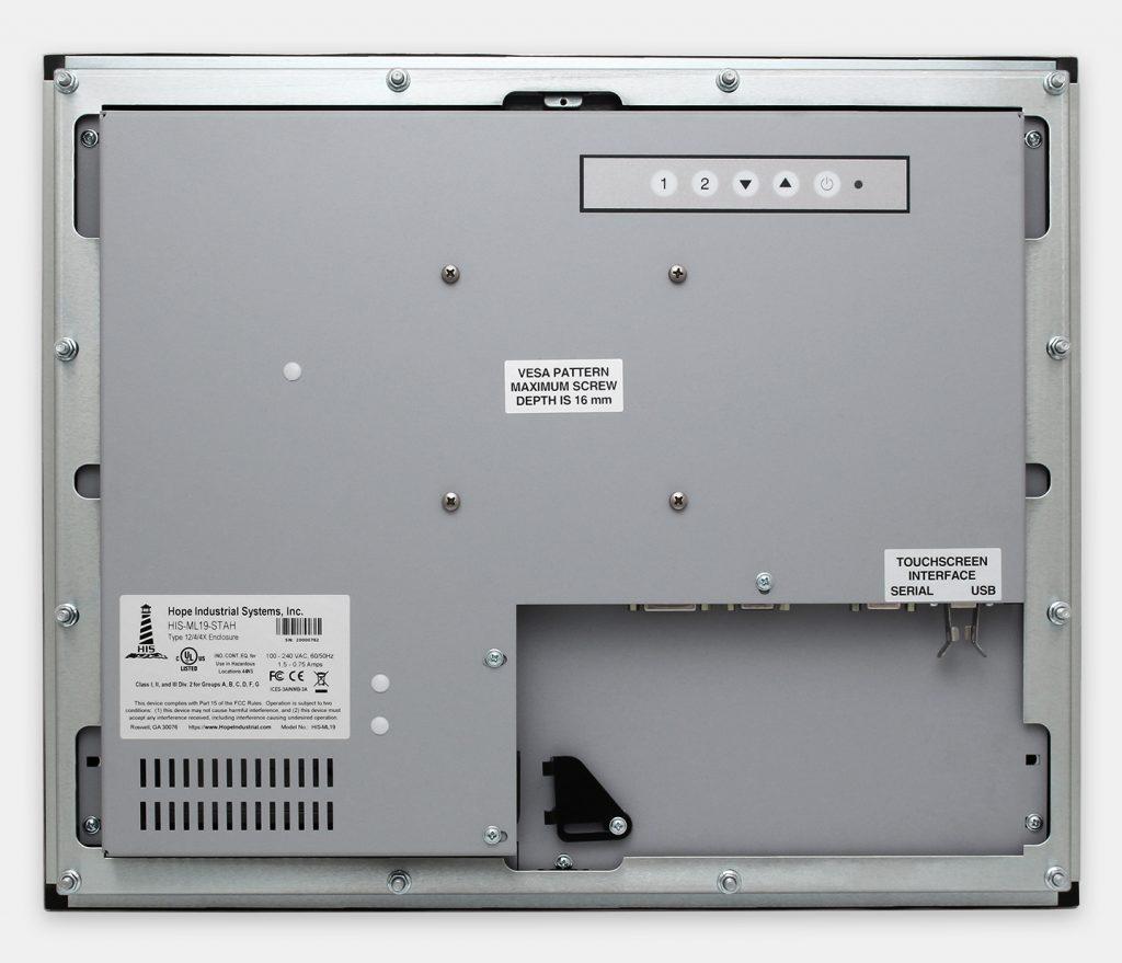 """Écrans 19"""" à montage encastrable en façade à usage industriel et écrans tactiles robustes homologués IP65/IP66, vue arrière"""