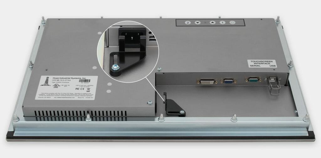 """Écrans 19,5"""" de grande largeur à montage encastrable en façade pour usage industriel et écrans tactiles robustes homologués IP65/IP66, vue sortie du câble CA"""