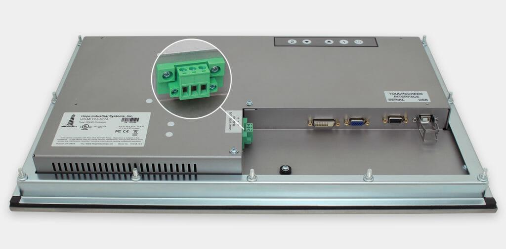 """Écrans 19.5"""" grande largeur à montage encastrable en façade pour usage industriel et écrans tactiles robustes IP65/IP66, vue sortie de câble CC"""