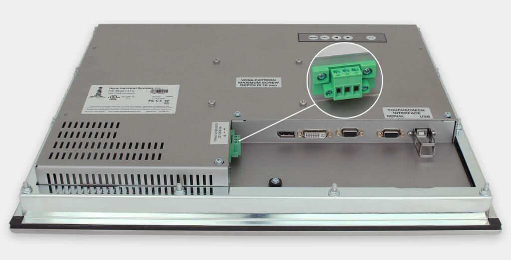"""Écrans 20"""" à montage encastrable en façade à usage industriel et écrans tactiles robustes homologués IP65/IP66, vue sortie câble CC"""