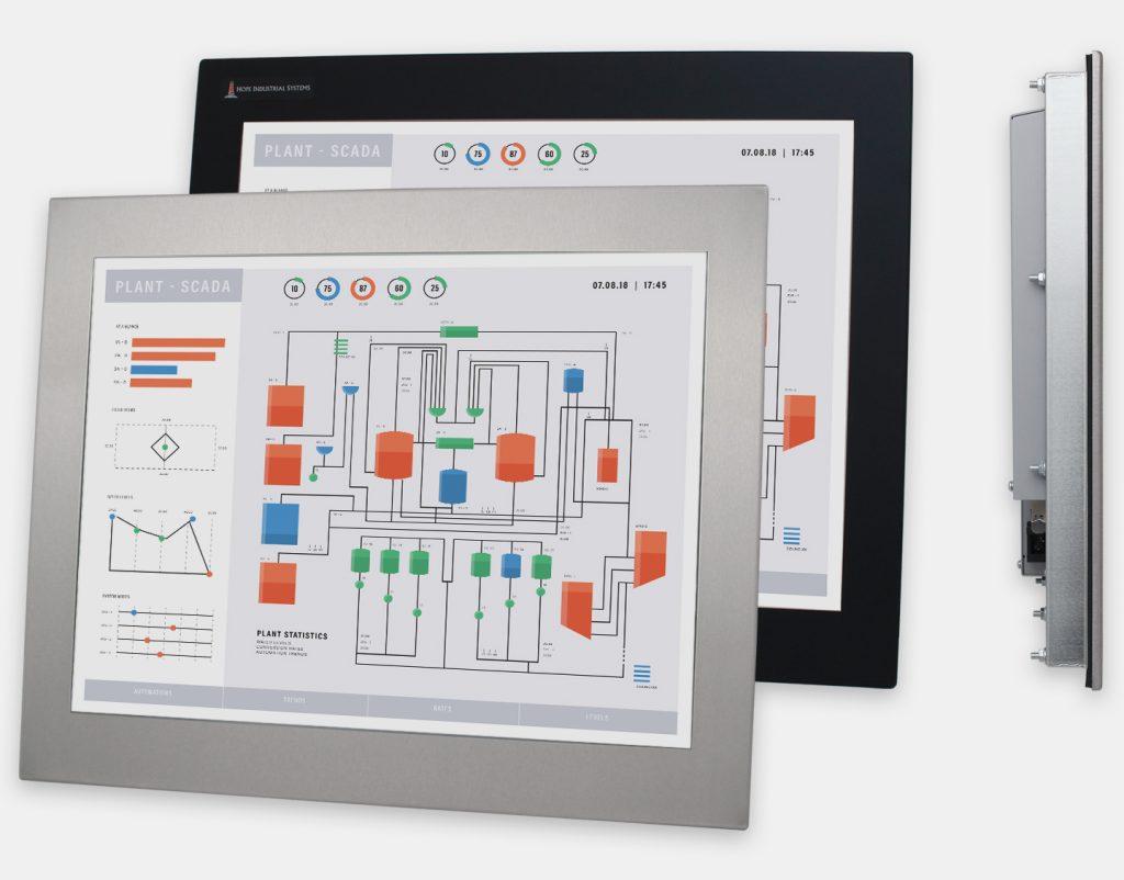 """Écrans 20"""" à montage encastrable en façade à usage industriel et écrans tactiles robustes homologués IP65/IP66, vues avant et latérale"""