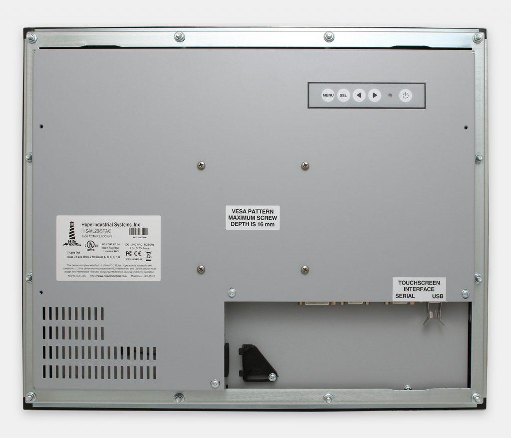 """Écrans 20"""" à montage encastrable en façade à usage industriel et écrans tactiles robustes homologués IP65/IP66, vue arrière"""