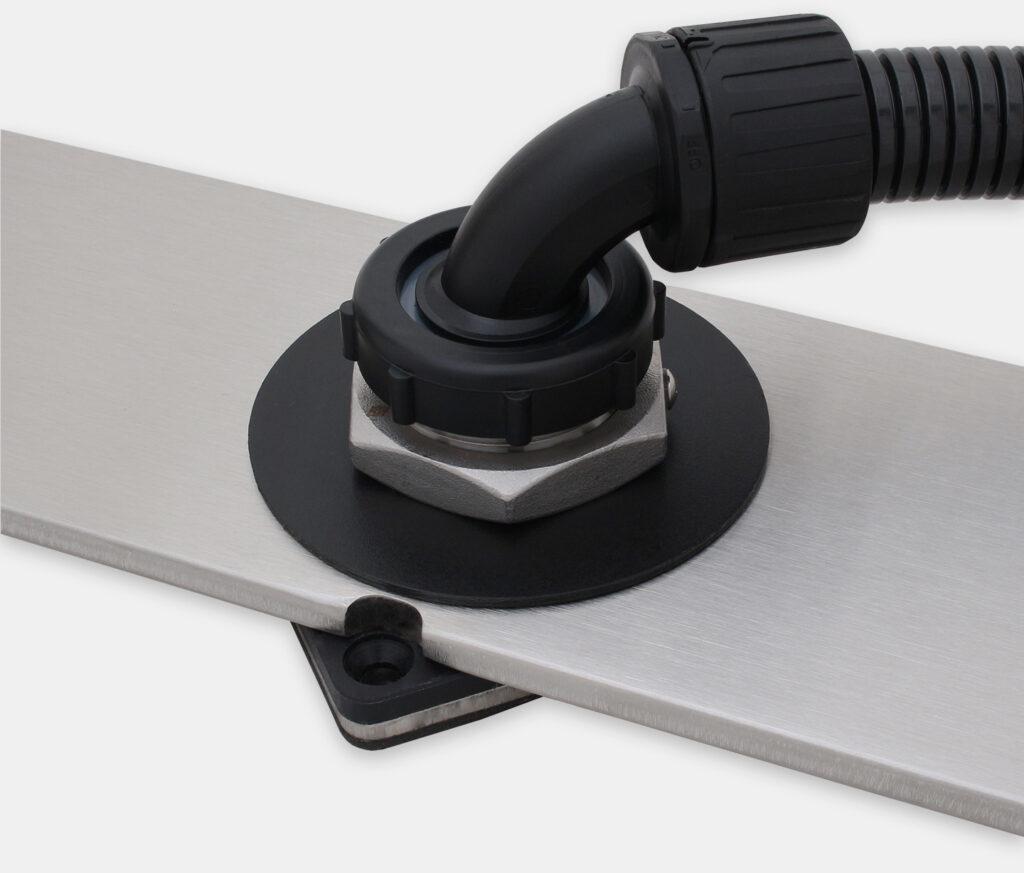 Kit articulation pour plan de travail IP65/IP66 pour moniteurs à montage encastrable universel, configuration étanche avec conduits pour câbles