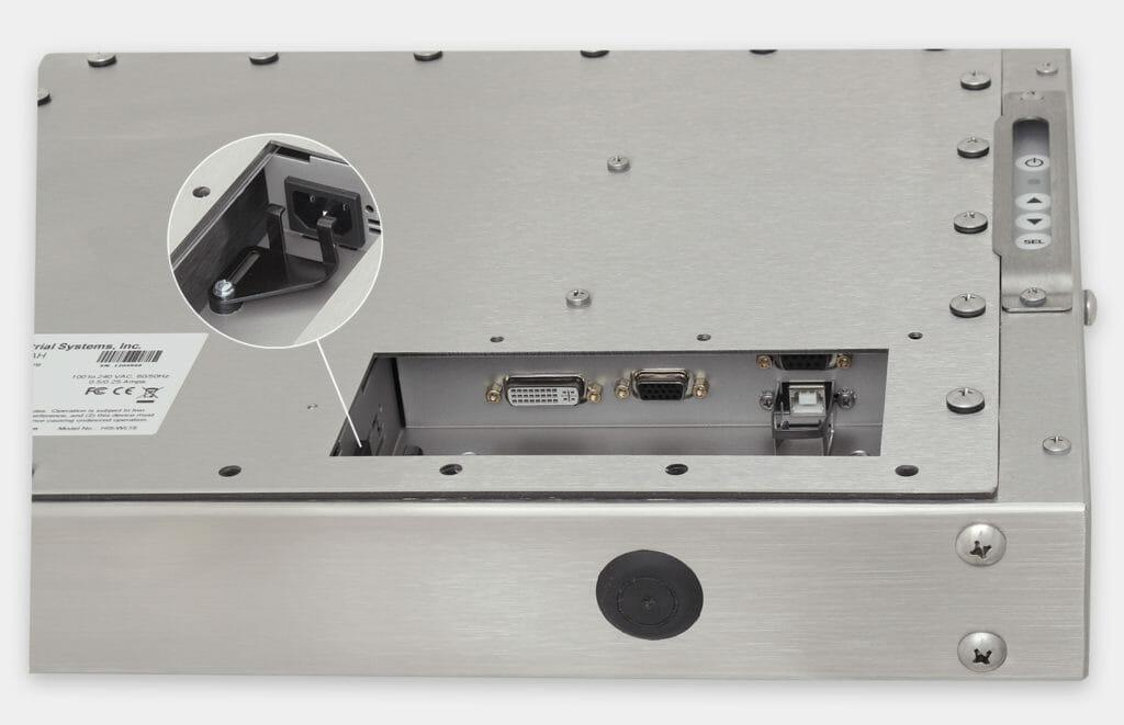 """Écrans 15"""" à montage encastré universel et écrans tactiles robustes homologués IP65/IP66, vue de sortie du câble CA"""