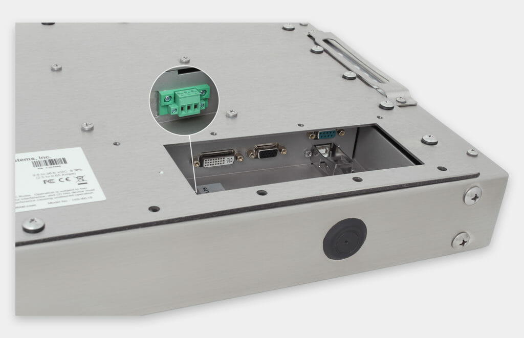 """Écrans 15"""" à montage encastré universel et écrans tactiles robustes homologués IP65/IP66, vue sortie de câble CC"""