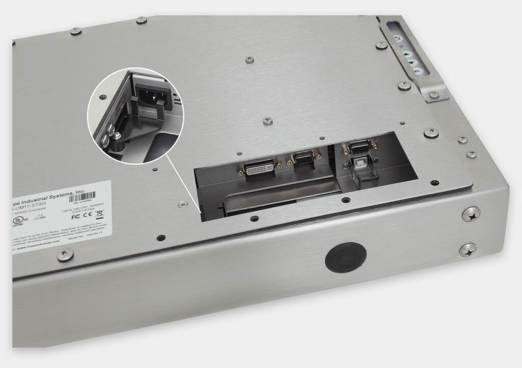 """Écrans 17"""" à montage encastrable universel pour usage industriel et écrans tactiles robustes homologués IP65/IP66, vue sortie de câble CA"""