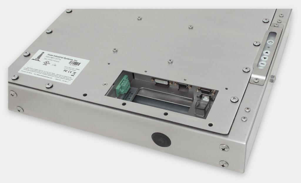 """Écrans 17"""" à montage encastrable universel pour usage industriel et écrans tactiles robustes homologués IP65/IP66, vue sortie de câble CC"""