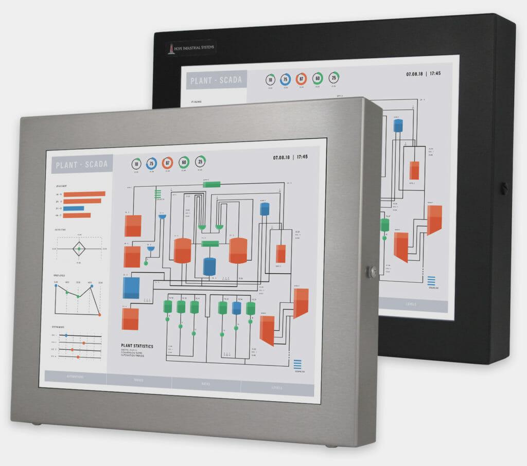 """Écrans 17"""" à montage encastrable universel pour usage industriel et écrans tactiles robustes homologués IP65/IP66, vue de face"""