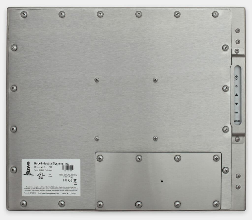 """Écrans 17"""" à montage encastrable universel pour usage industriel et écrans tactiles robustes homologués IP65/IP66, vue arrière"""