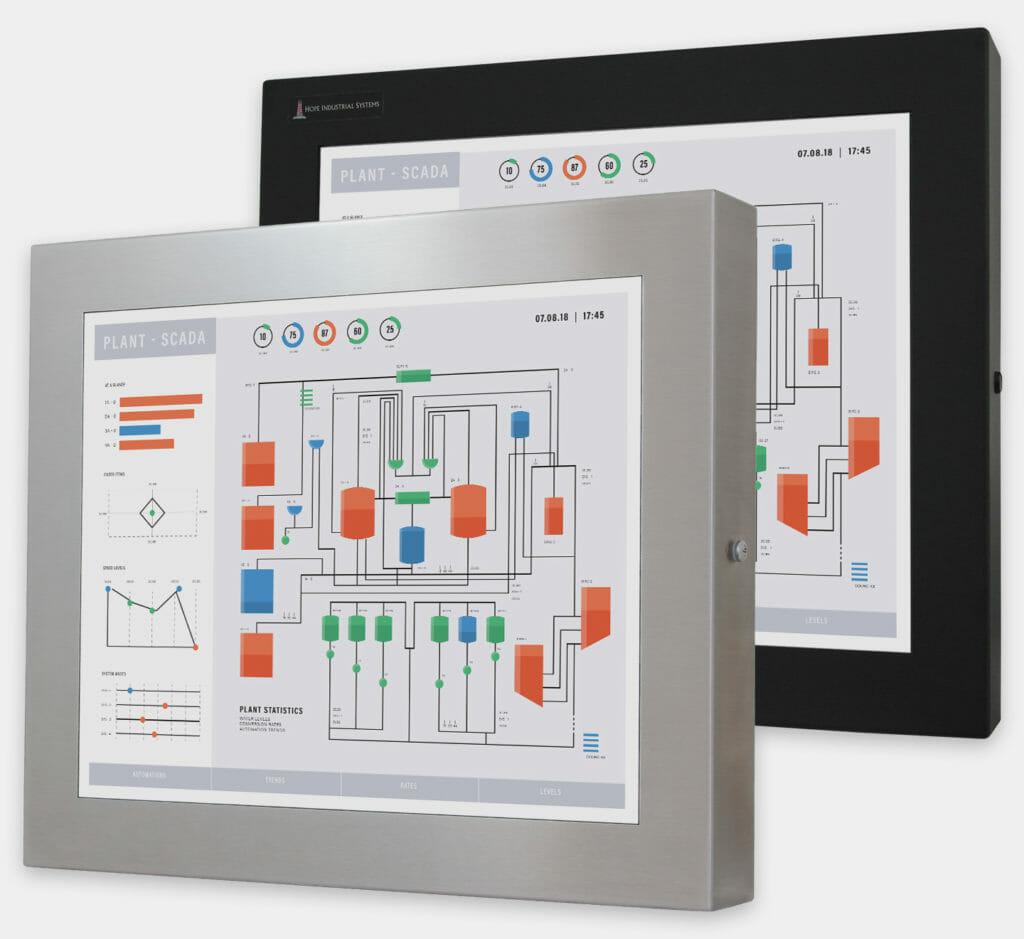 """Écrans 19"""" à montage encastrable universel pour usage industriel et écrans tactiles robustes homologués IP65/IP66, vue de face"""