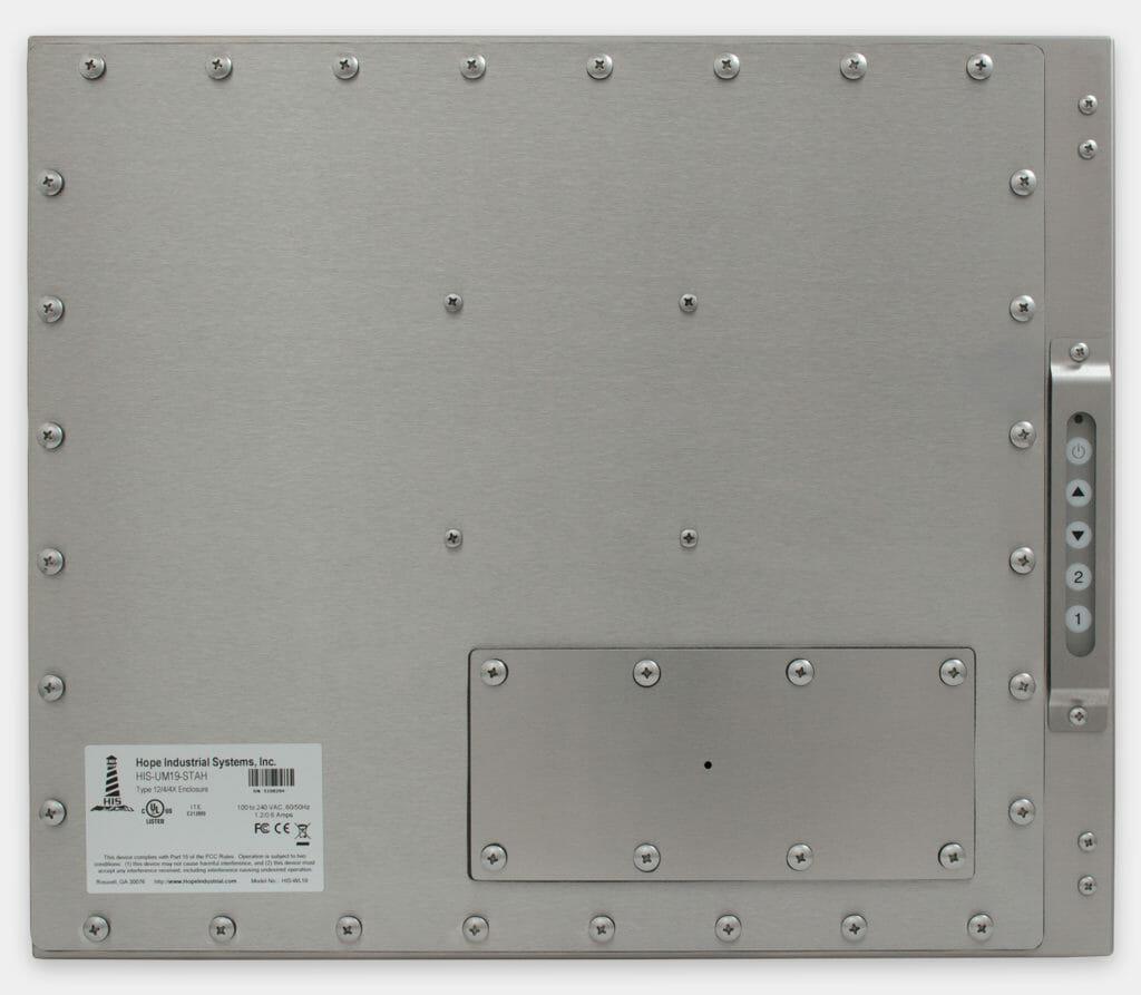 """Écrans 19"""" à montage encastrable universel pour usage industriel et écrans tactiles robustes homologués IP65/IP66, vue arrière"""