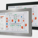 """Écrans 22"""" grande largeur à montage encastrable universel pour usage industriel et écrans tactiles robustes IP65/IP66, vue de face"""