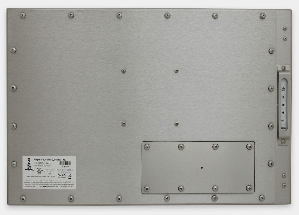 """Écrans 22"""" grande largeur à montage encastrable universel pour usage industriel et écrans tactiles robustes IP65/IP66, vue arrière"""